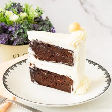 A plate with a slice of cake.