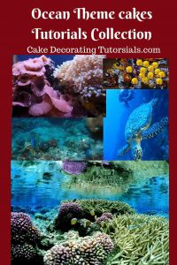 A collection of ocean theme cakes. How to make under the water theme cakes. Seashells fishes and corals.