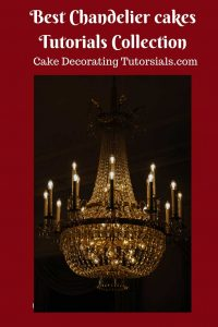 An image optimized for social media sharing for this chandelier cake tutorials.