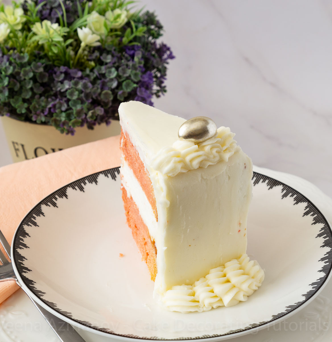 Slice of cake on a white plate.
