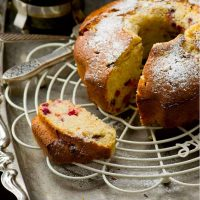 A simple delicious cranberry almond cake made with fresh and dried cranberries with almond flakes
