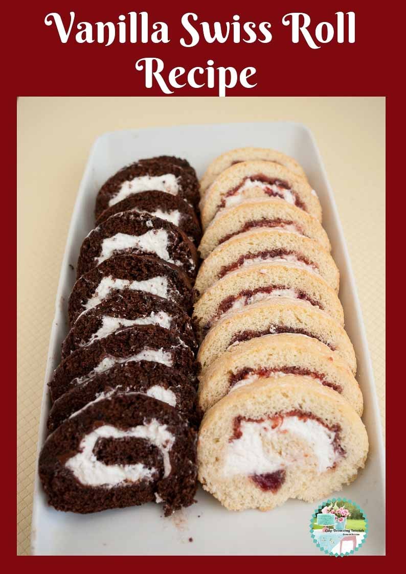 Vanilla Swiss Roll Cake Recipe - This is a classic Swiss roll cake with strawberry jam and fresh whipped cream.