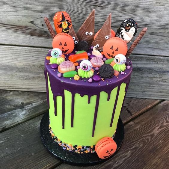 A collection of Halloween Cakes for birthday celebration with recipes