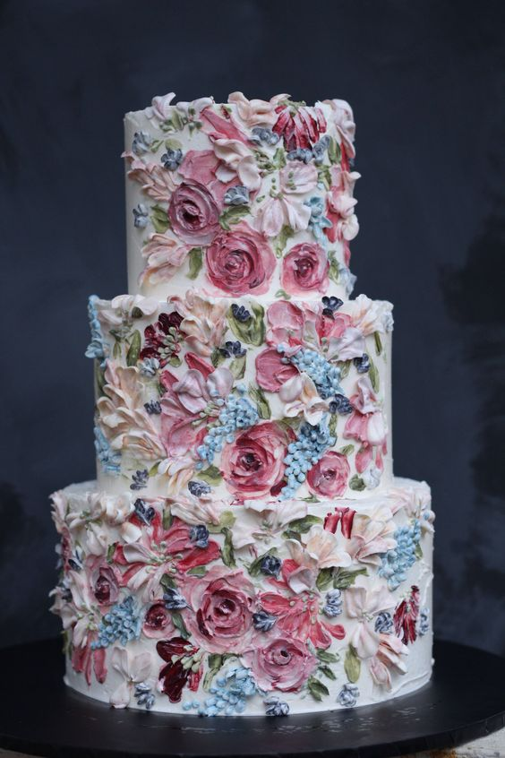 Painted buttercream cakes ideas