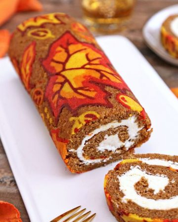 Decorated Swiss roll cakes are printed with patterns using colored cake batter