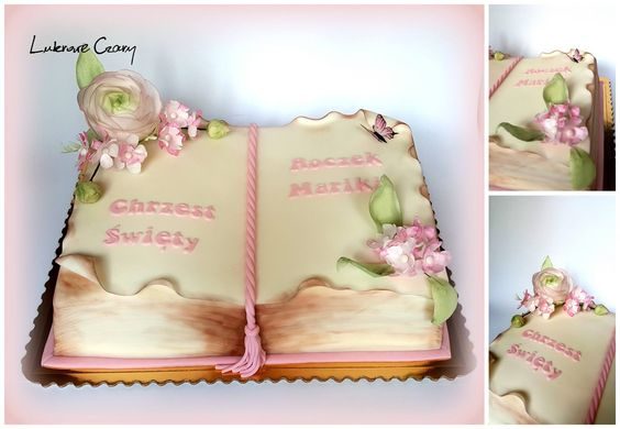 pink and white theme open book cake made with fondant