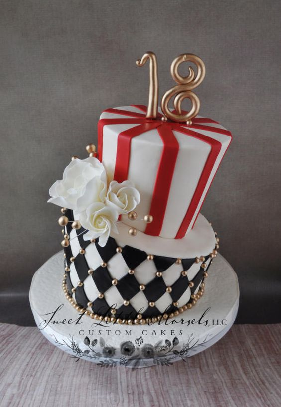 Red and black themed topsy turvy 2 tier cake