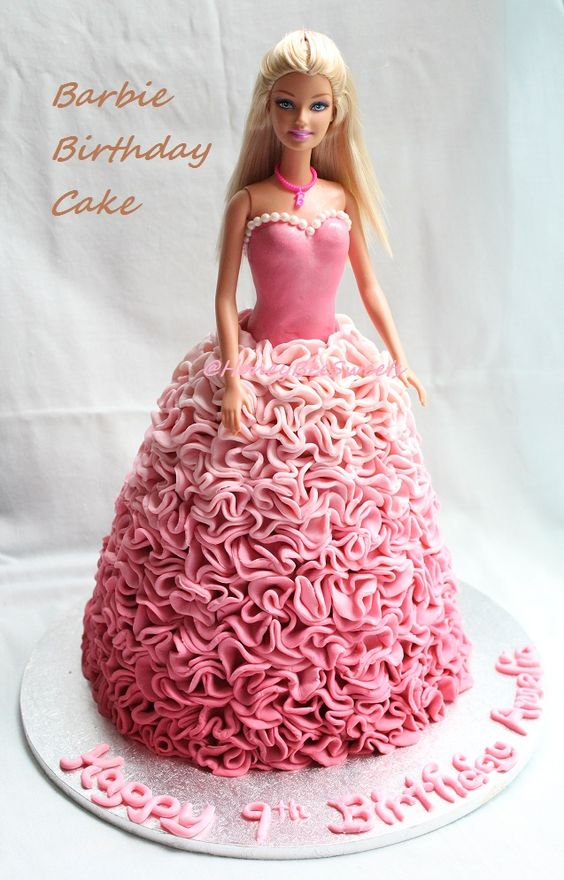 Pink Ombre effect dress cake with ruffles