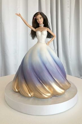 White blue and golden dress cake made with fondant