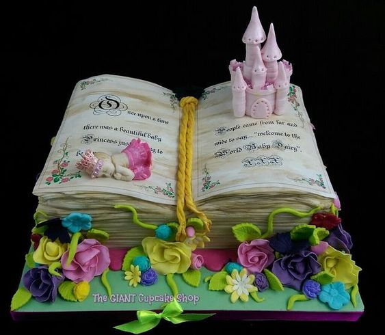 castle theme book cake made for kids, open book cake