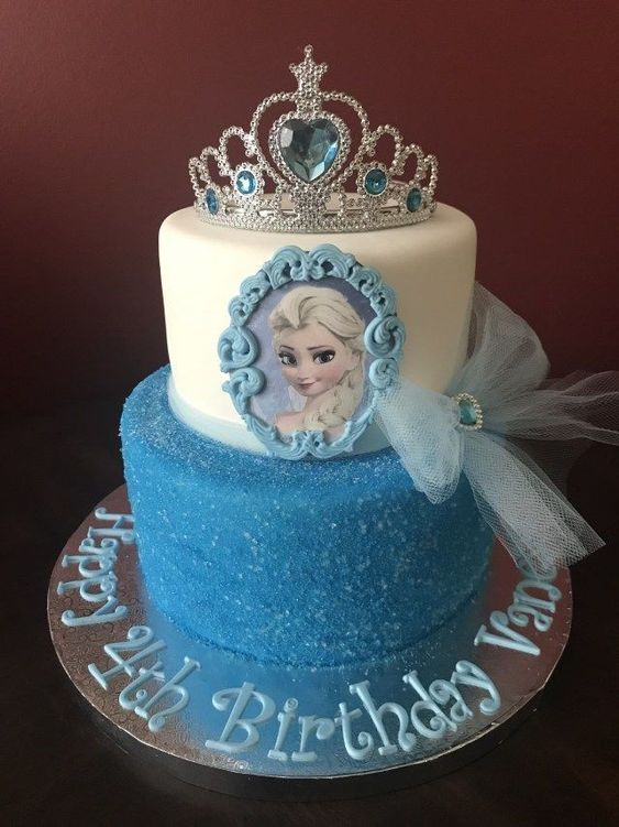 A 2 tier blue and white crown cake