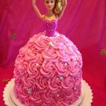 Pink Cream cake with rosettes