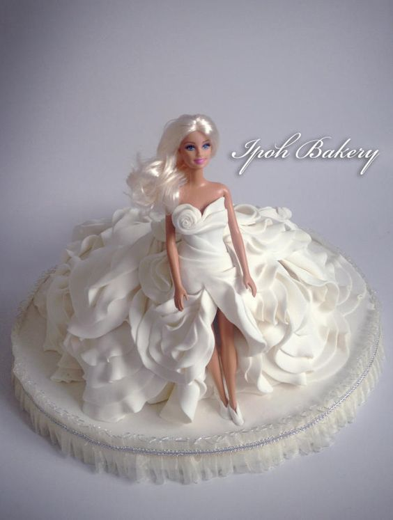 Wedding theme dress cake make using white fondant