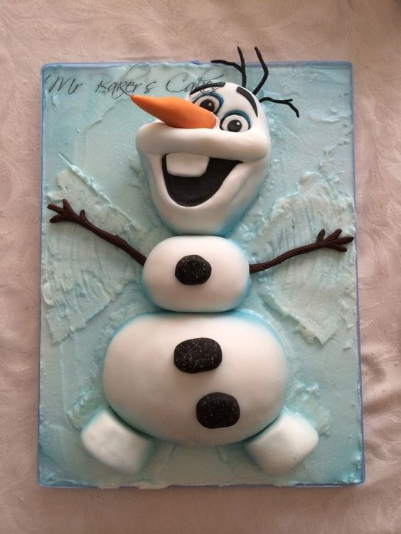 Frozen Theme Cake Tutorials on how to make an elsa cake, snowman cake