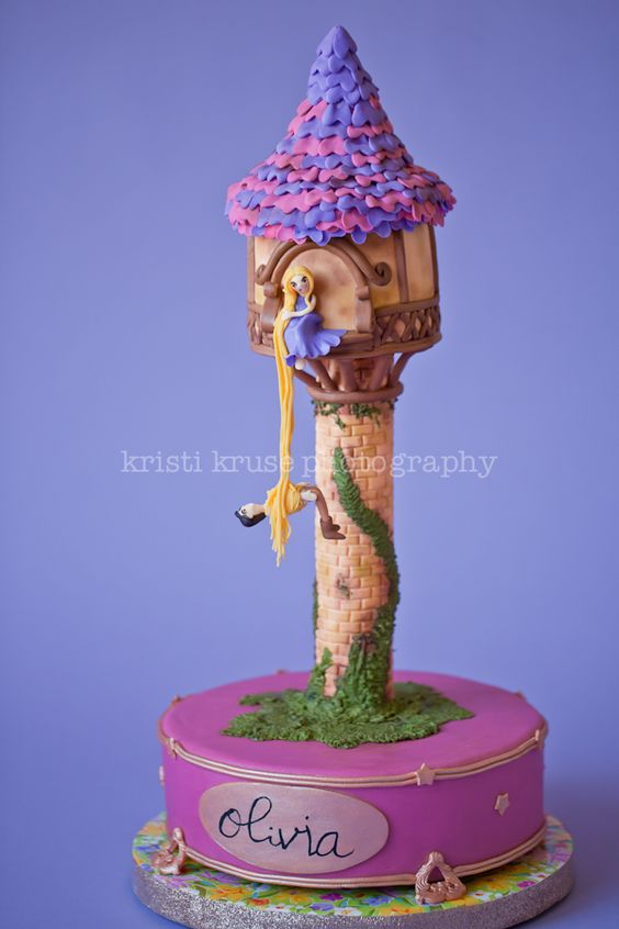 rapunzel cake with a tower, purple and pink theme cake
