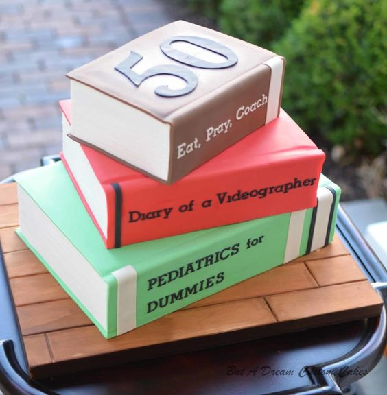 Stacked book cake for birthday cake