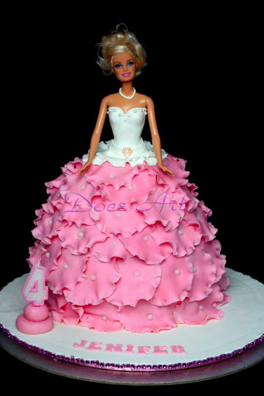 Pink and white theme doll cake for teen girls