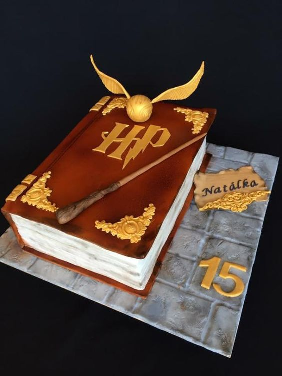 harry potter theme closed book cake with brown fondant cover