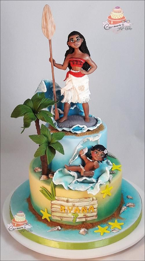 Moana Theme cake with coconut trees, water and sugar moana figure