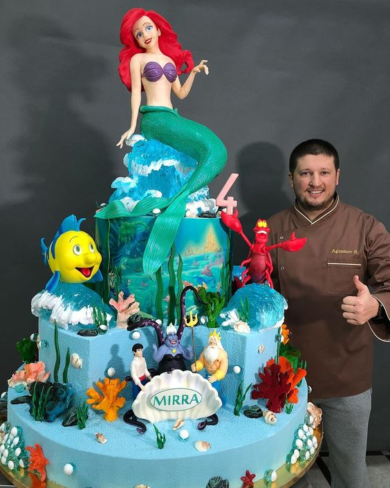 Disney mermaid theme cake with sea animals and aqua theme