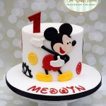 Mickey theme cake for 1st birthday made with fondant
