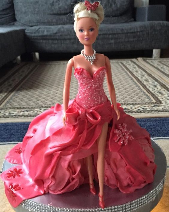 Red shimmery Dress Doll cake make using fondant