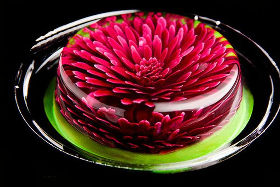 3D effect jelly cake flower theme red