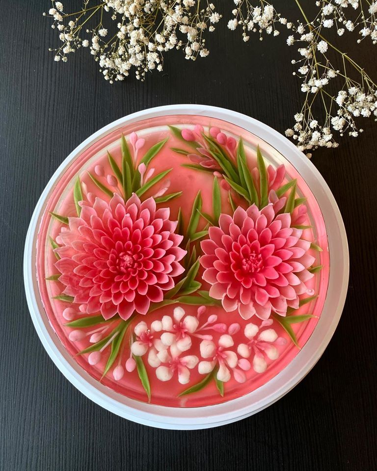 gelatin flowers made with jello art tool kit