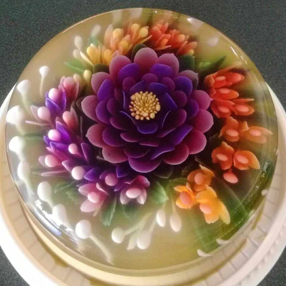 Gelatin flowers made with gelatin art tools