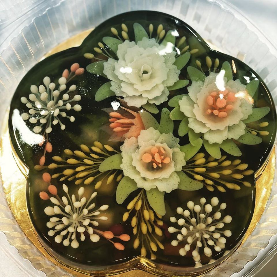 Malaysian Jelly Cake Black based color with white flowers