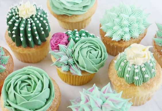 eco themed cupcakes made using green frosting