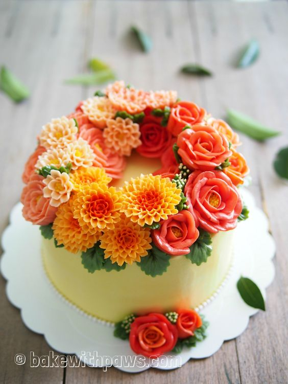 Yellow and orange flowers made of buttercream