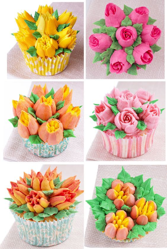 frosted flowers and leaves on mini baked goodies
