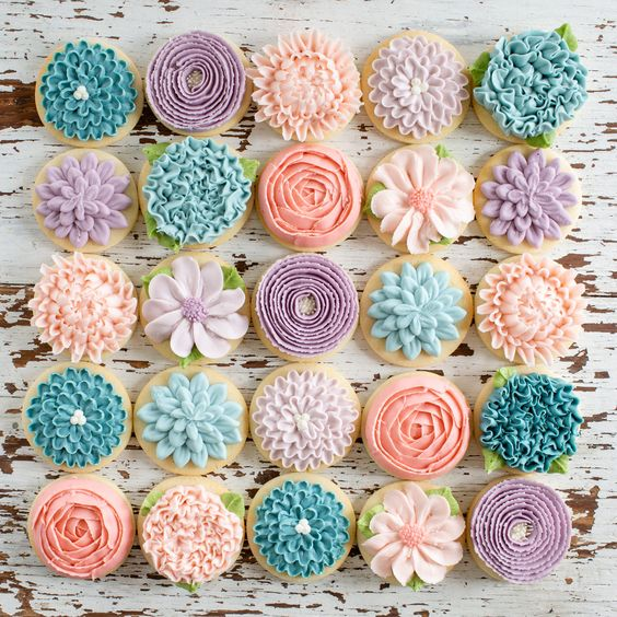 colorful mini cakes with frosting