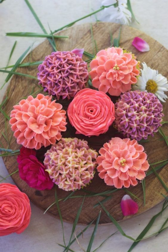 colorful buttercream flower cupcakes