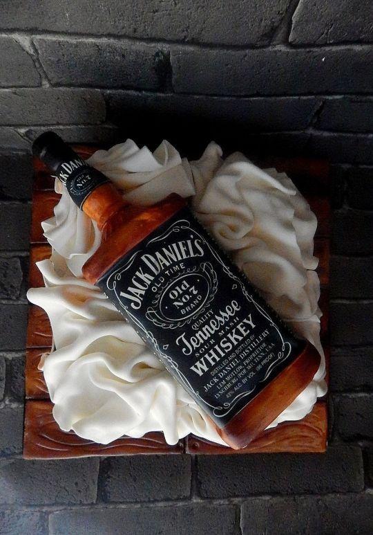Bottle cake with jack daniels theme for men