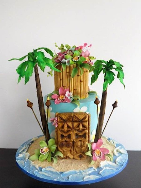 a two tier cake in the Hawaiian Theme Cake Tutorials