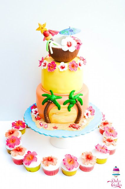 a summer party theme cake with fondant trees and coconut
