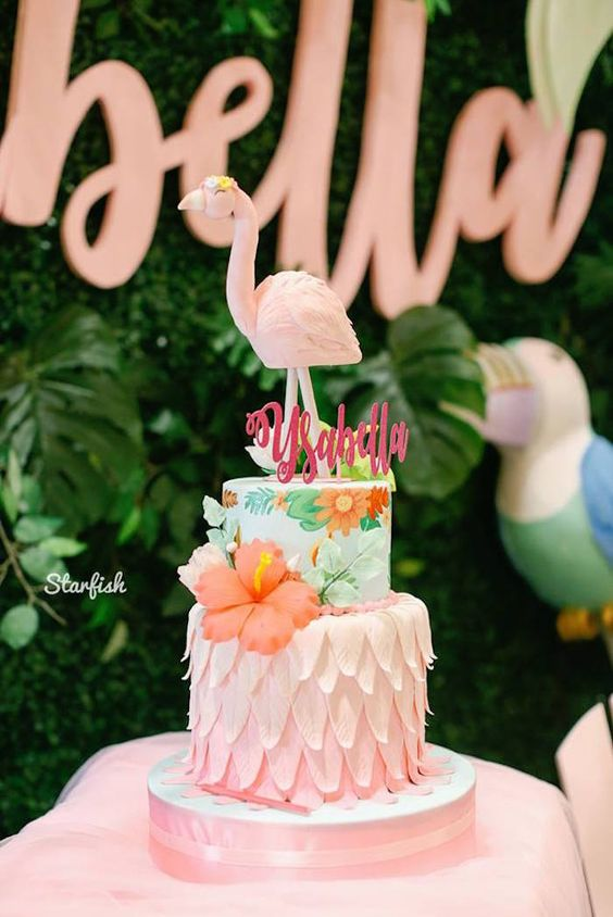 Ombre effect Hawaiian Theme Cake Tutorials