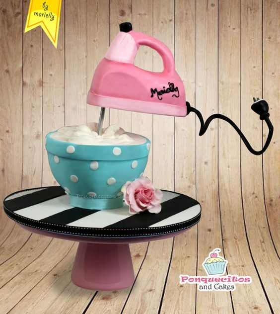electric beater cake with fondant batter bowl cake