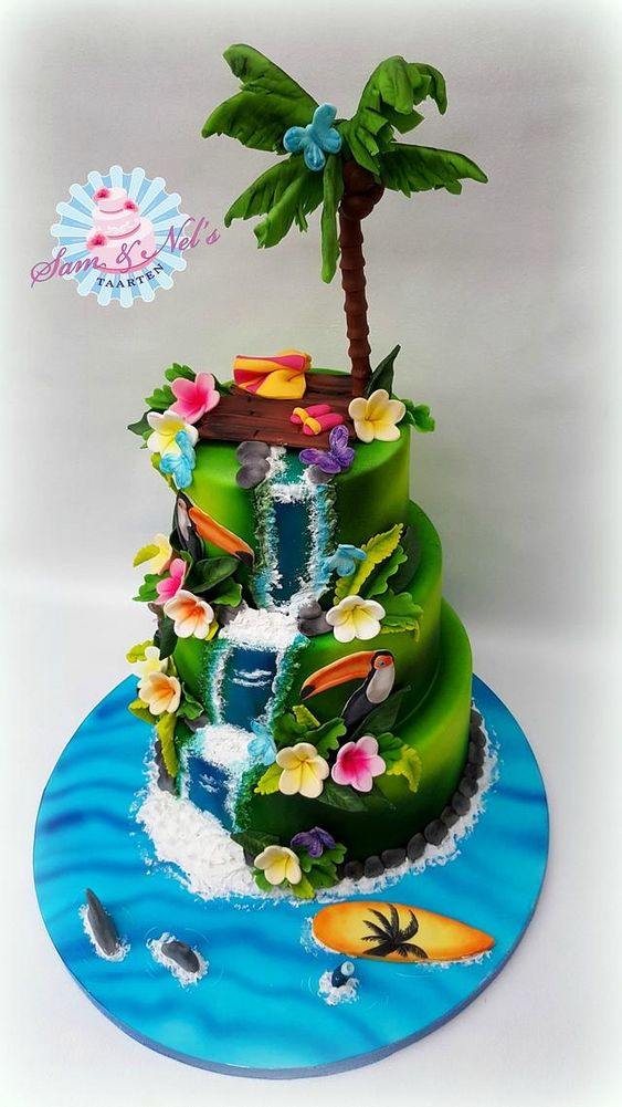 Hawaiian Theme Cake Tutorials with flowers, trees and beach effect using fondant