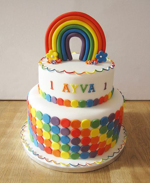 A an easy and simple 2 tier cake for a colorful theme party
