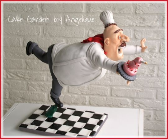 Sculpted chef from cake - Baker Theme Cake Tutorials
