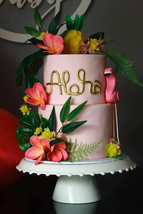 Aloha theme party cake made using sugar paste and aloha flowers