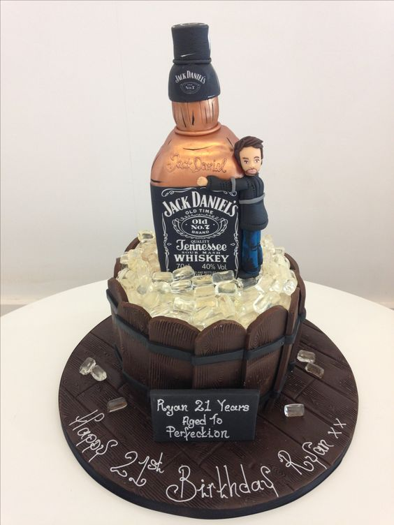 JD's Cake with sugar icecubes and fondant work on cake