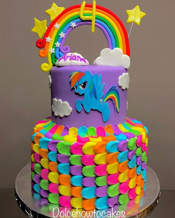 A unicorn cake with purple color, stars and buttercream