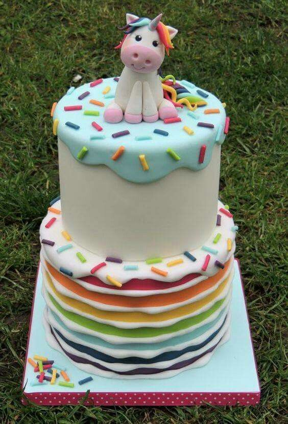 A rainbow theme cake tutorials for kids cakes with a unicorn made of fondant