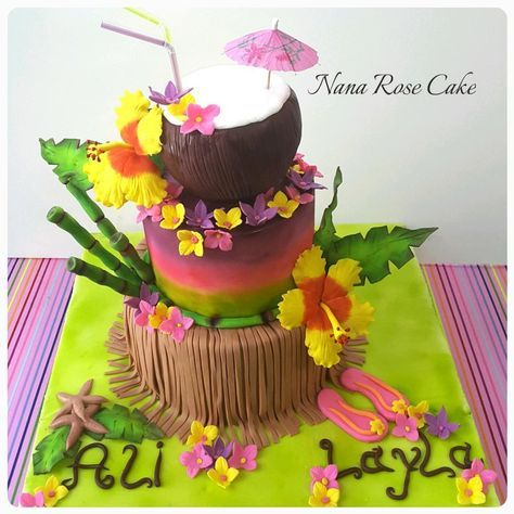 A coconut fondant cake topped on a summer cake