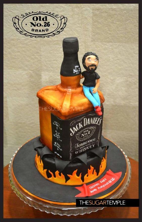 Standing bottle cake for men