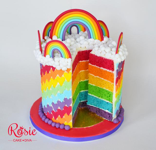 colorful cakes made with individually baked sponge later and topped with fondant accents